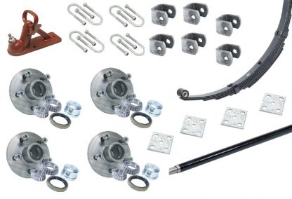 Tandem axle springs axles hubs hitch trailer Loadstar hangers